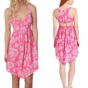 Roxy Sky Dive Tropical Pink Floral Cut Out Dress
